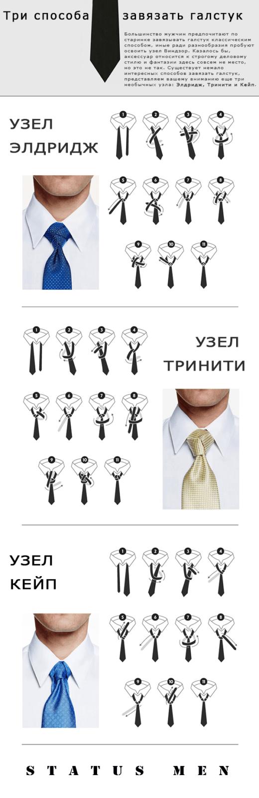 Элдридж, Тринити и Кейп - узлы для галстука