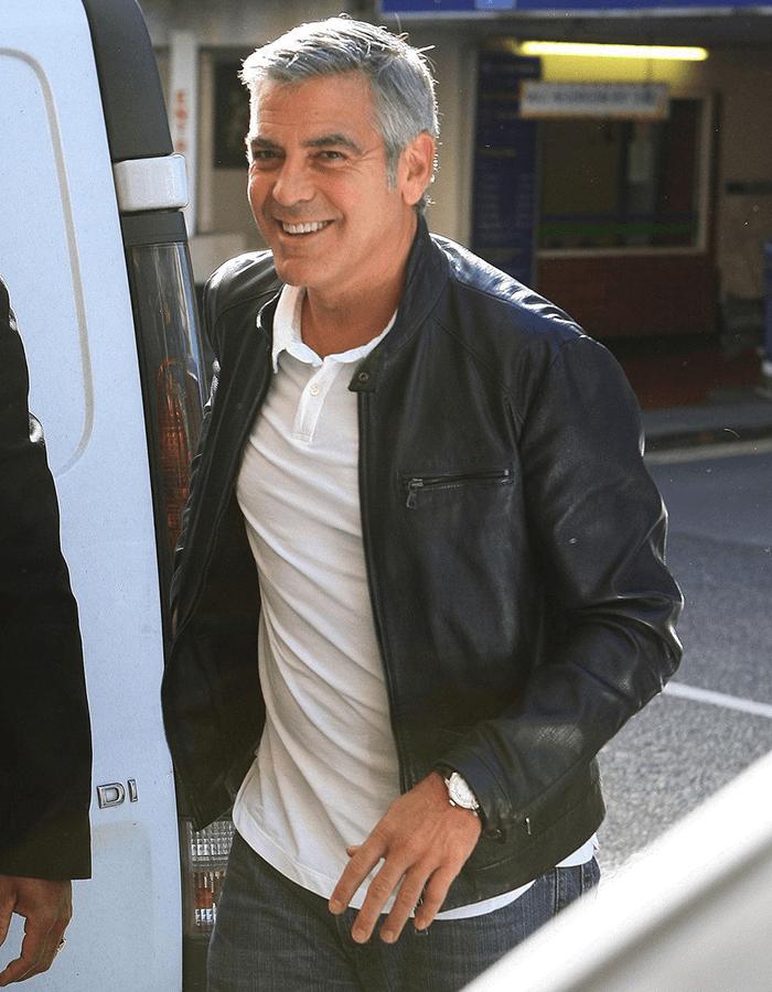 Клуни в куртке