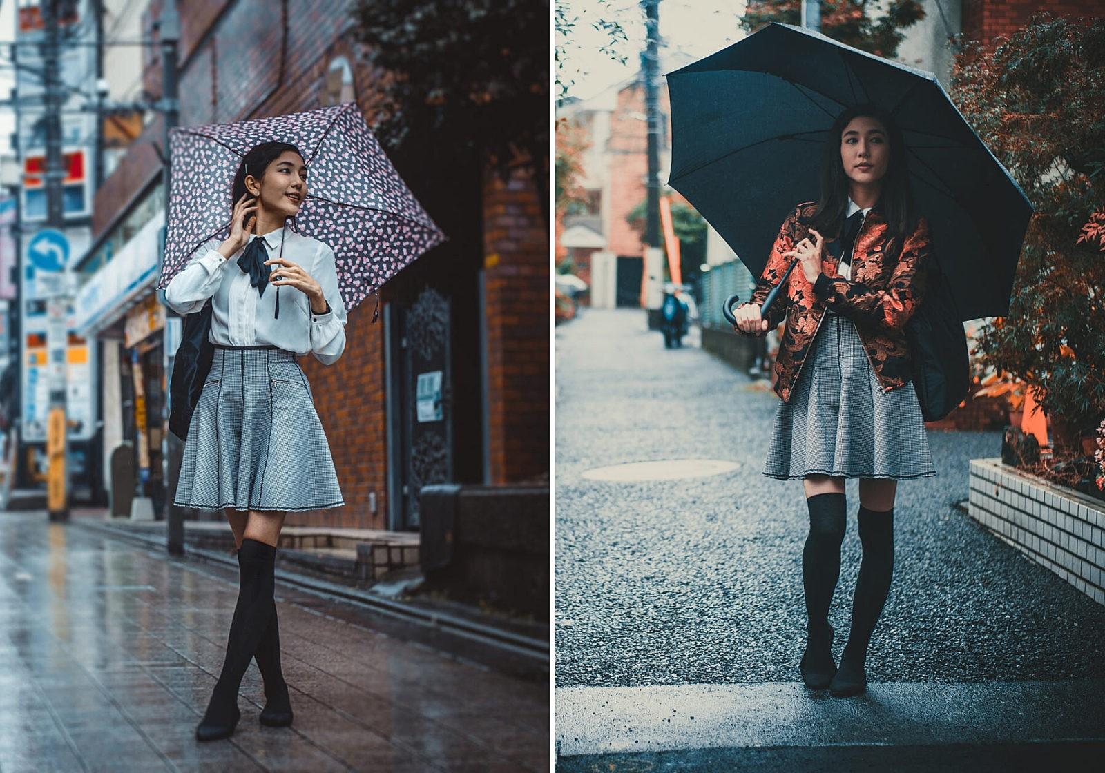 Красивые японские девушка гуляют в Токио
