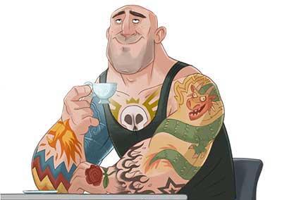 Мужик пьёт чай