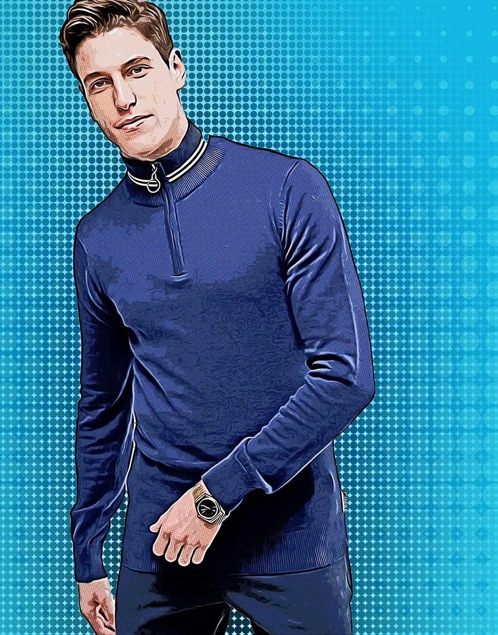 Водолазка с синим костюмом