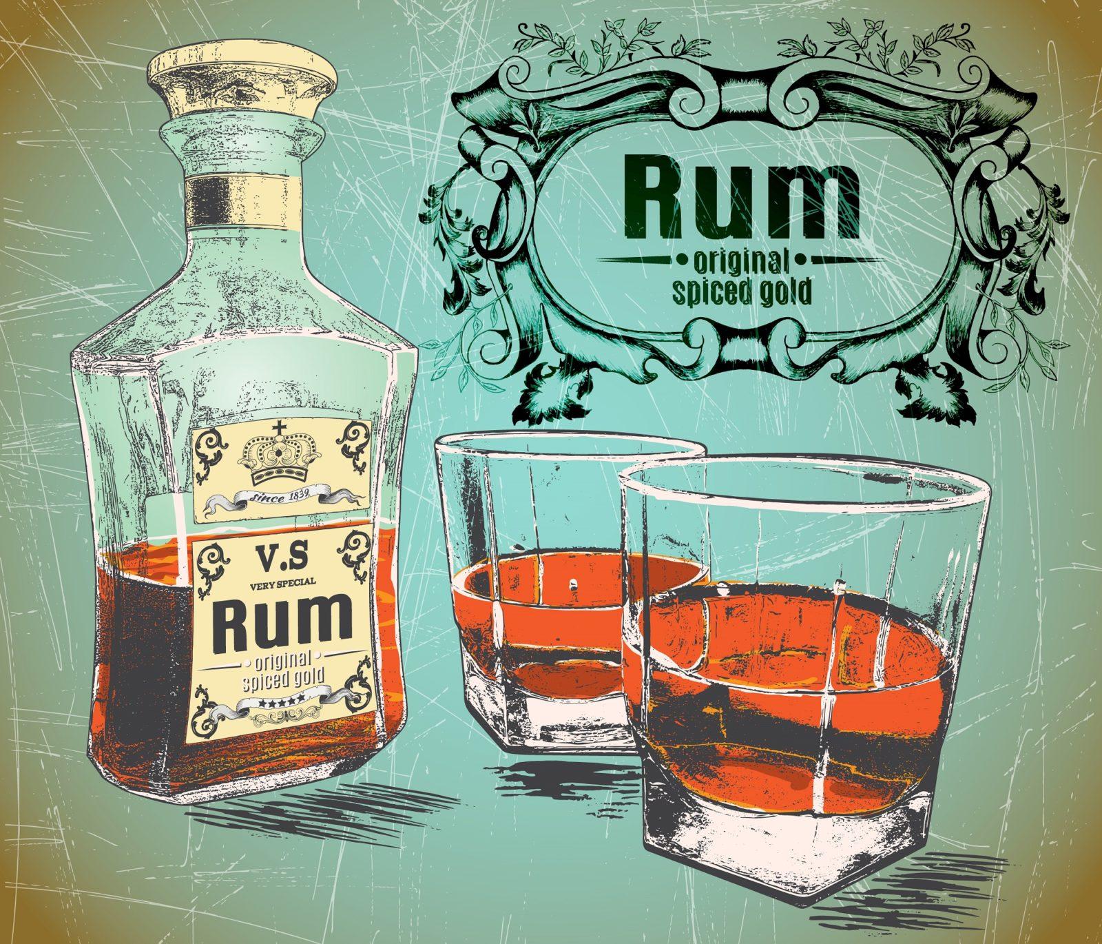 Бутылка рома и два стакана на потёртом фоне – Векторная картинка