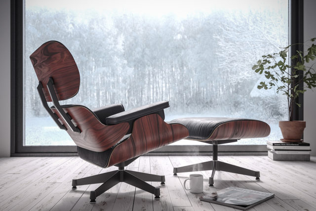 Кресло Eames Lounge Chair с пуфом для ног