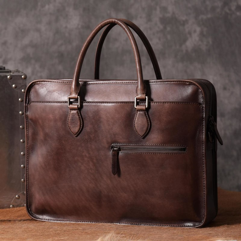 Leather men's business briefcase