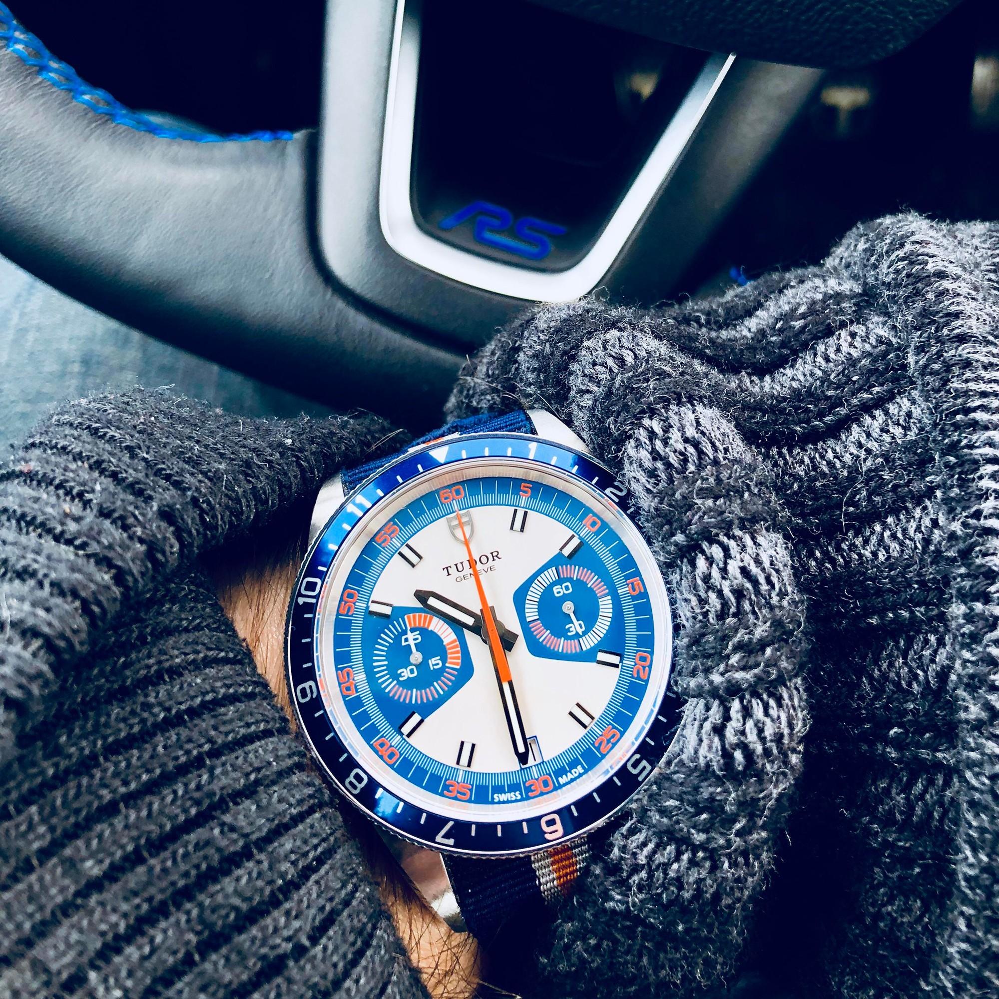 Мужские часы Tudor Heritage Chrono Blue из нержавеющей стали 70330 Box Card